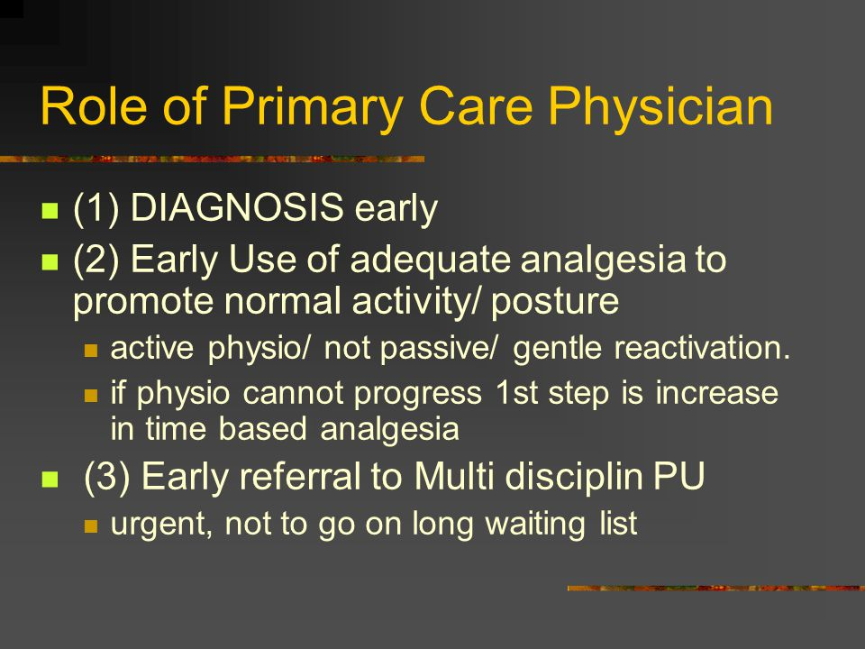 Role of Primary Care Physician