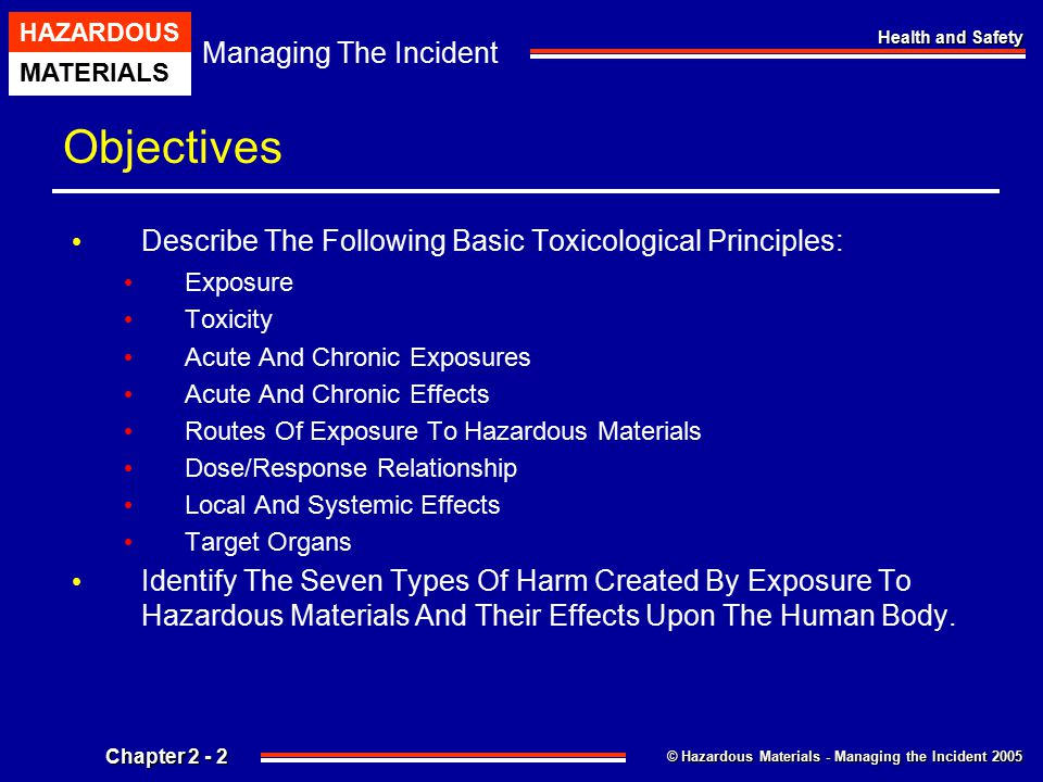 Objectives Describe The Following Basic Toxicological Principles: