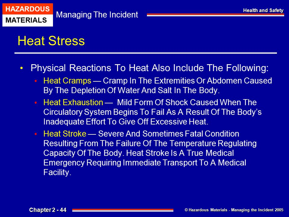 Heat Stress Physical Reactions To Heat Also Include The Following: