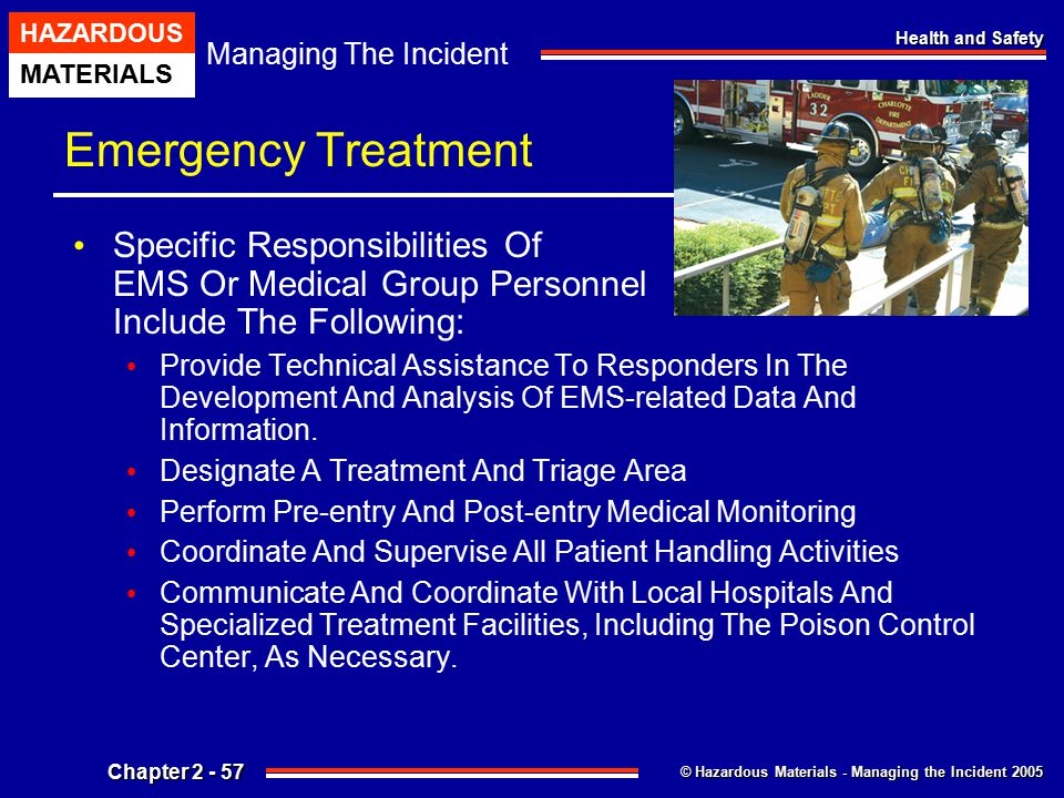 Emergency Treatment Specific Responsibilities Of EMS Or Medical Group Personnel Include The Following: