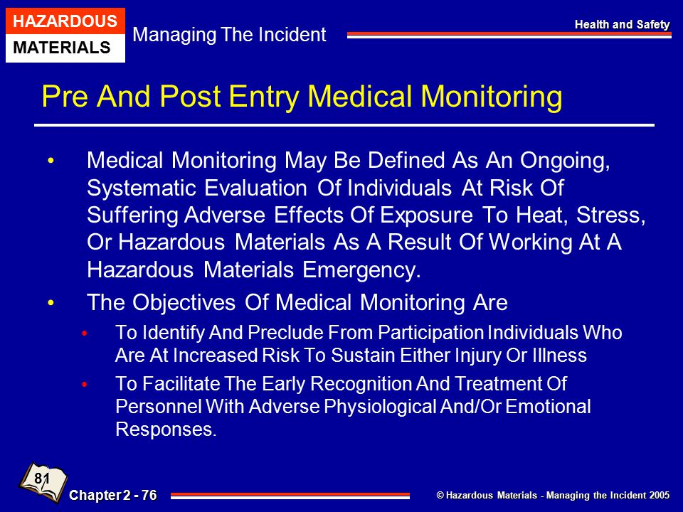 Pre And Post Entry Medical Monitoring