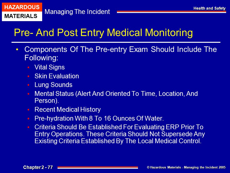Pre- And Post Entry Medical Monitoring