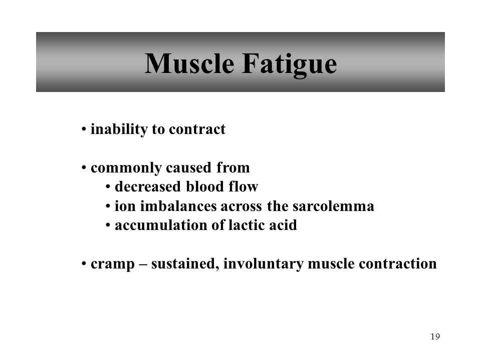Muscle Fatigue inability to contract commonly caused from