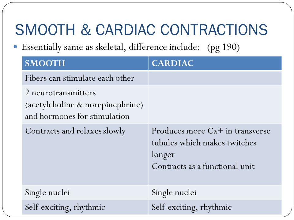 SMOOTH & CARDIAC CONTRACTIONS