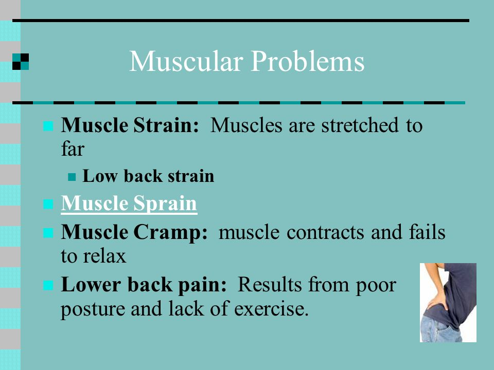 Muscular Problems Muscle Strain: Muscles are stretched to far