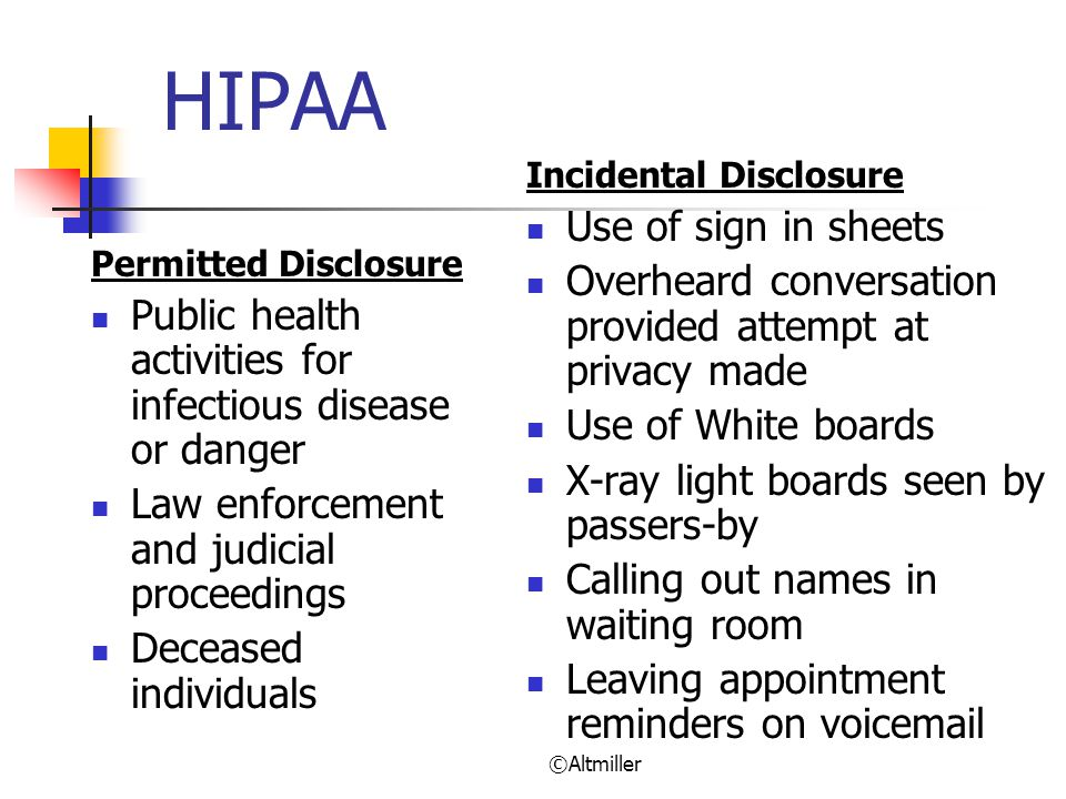 HIPAA Use of sign in sheets