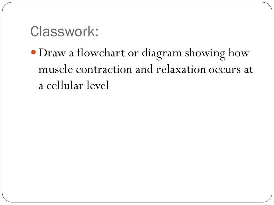 Classwork: Draw a flowchart or diagram showing how muscle contraction and relaxation occurs at a cellular level.