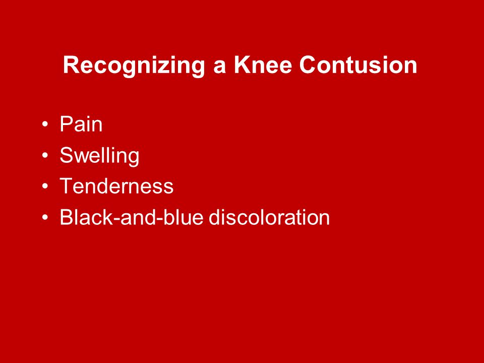 Recognizing a Knee Contusion