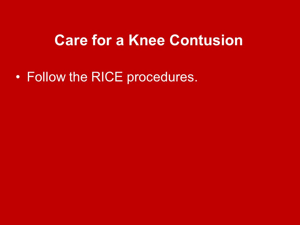 Care for a Knee Contusion