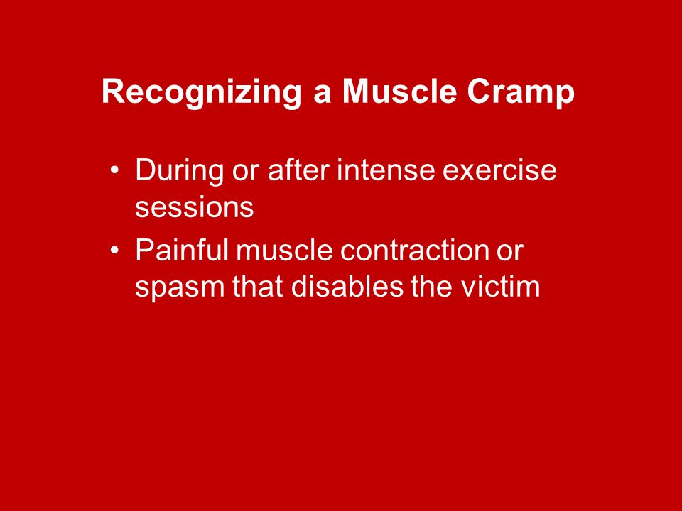 Recognizing a Muscle Cramp