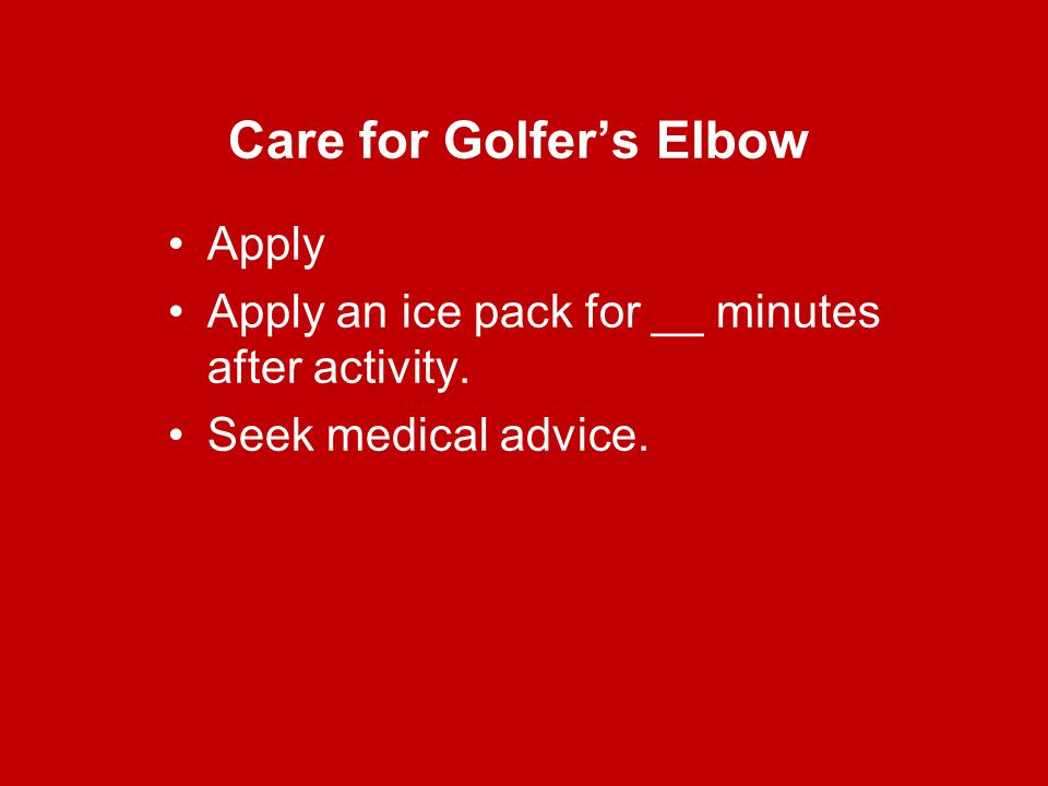 Care for Golfer's Elbow