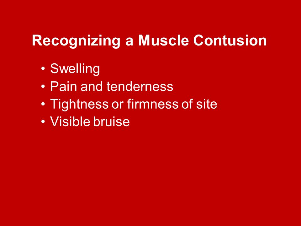 Recognizing a Muscle Contusion