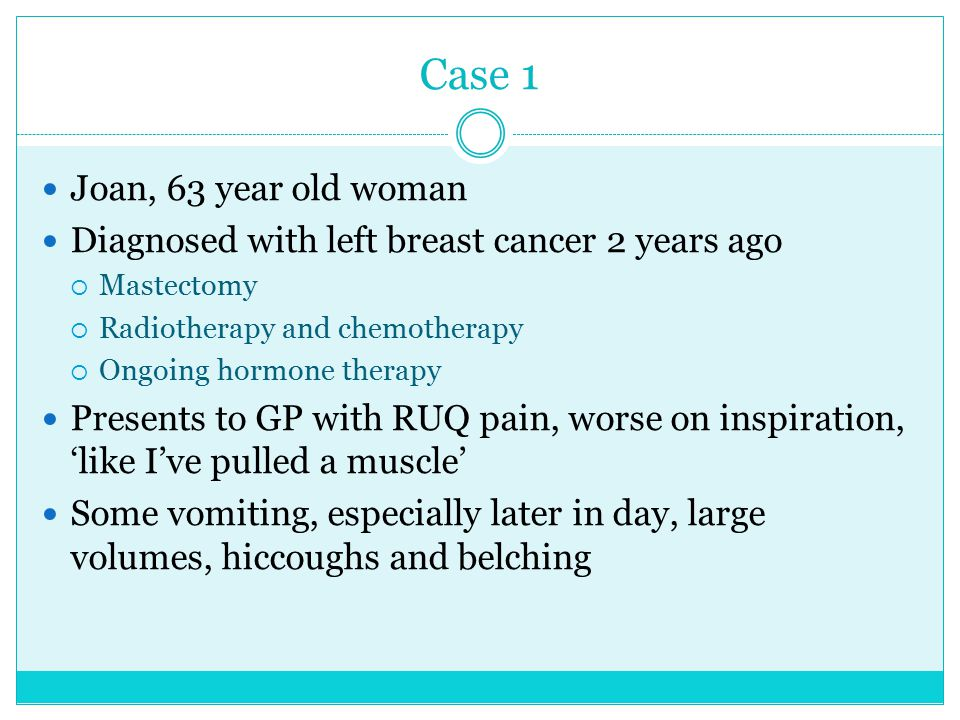 Case 1 Joan, 63 year old woman