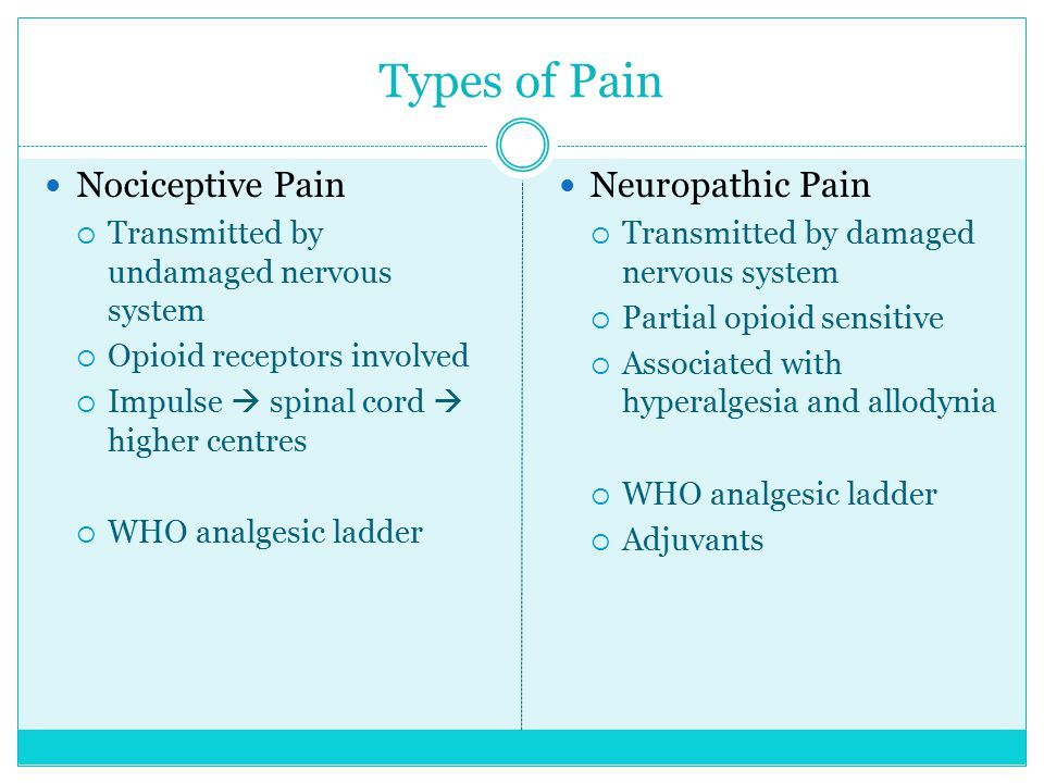 Types of Pain Nociceptive Pain Neuropathic Pain