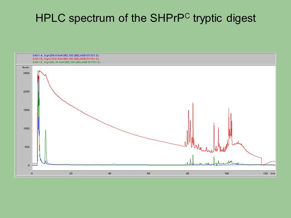 HPLC spectrum of the SHPrPC tryptic digest