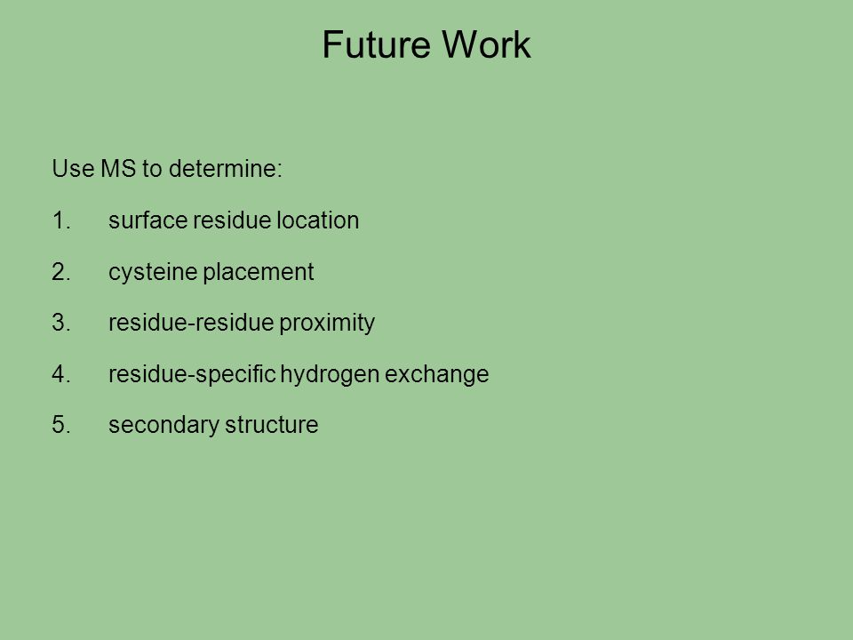 Future Work Use MS to determine: surface residue location