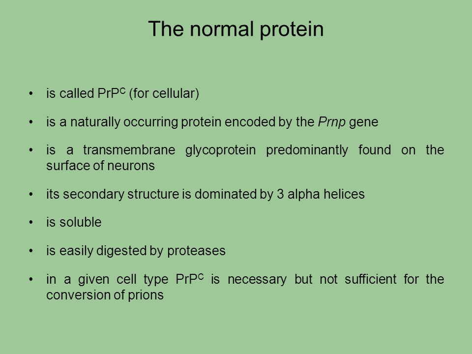 The normal protein is called PrPC (for cellular)