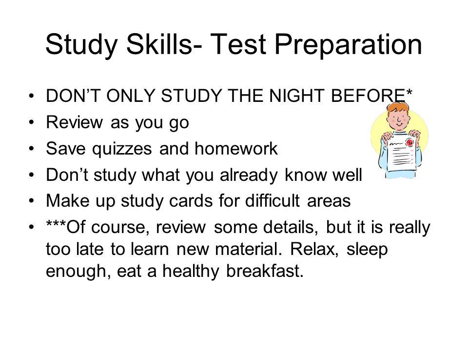 Study Skills- Test Preparation