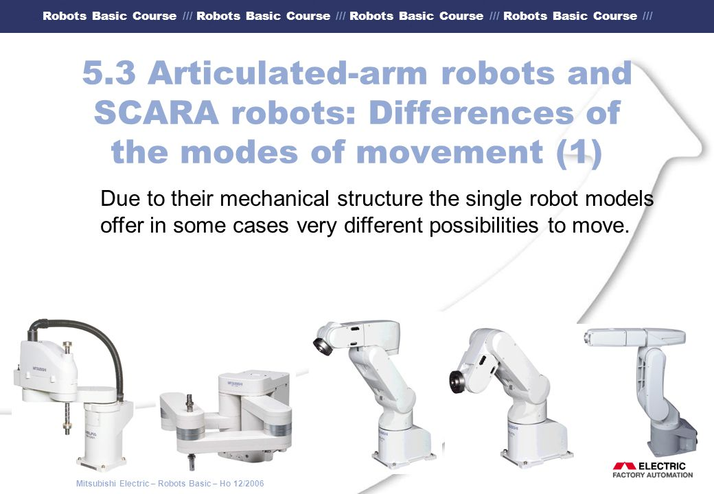 5.3 Articulated-arm robots and SCARA robots: Differences of the modes of movement (1)