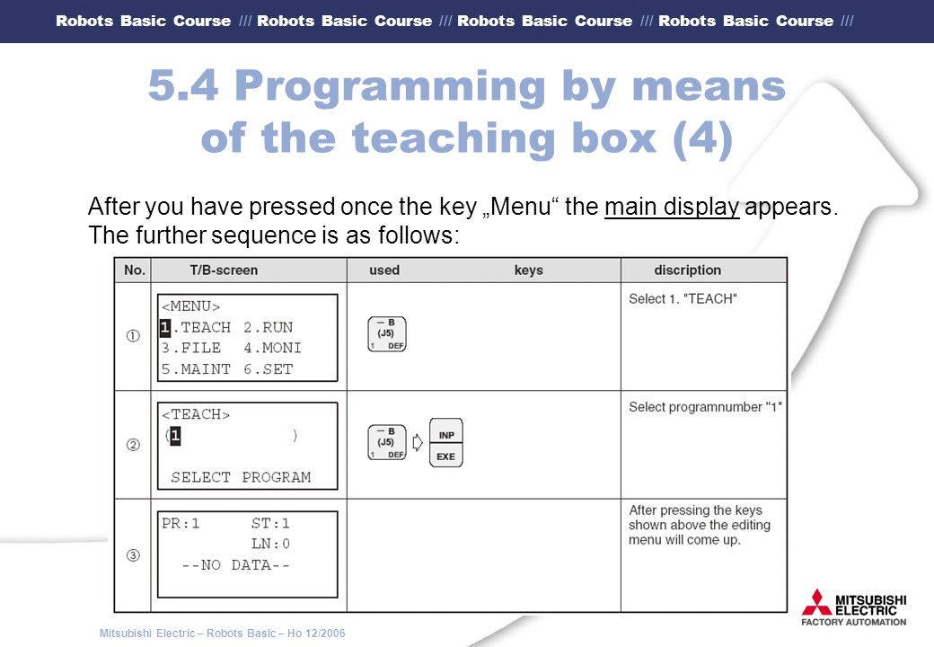 5.4 Programming by means of the teaching box (4)