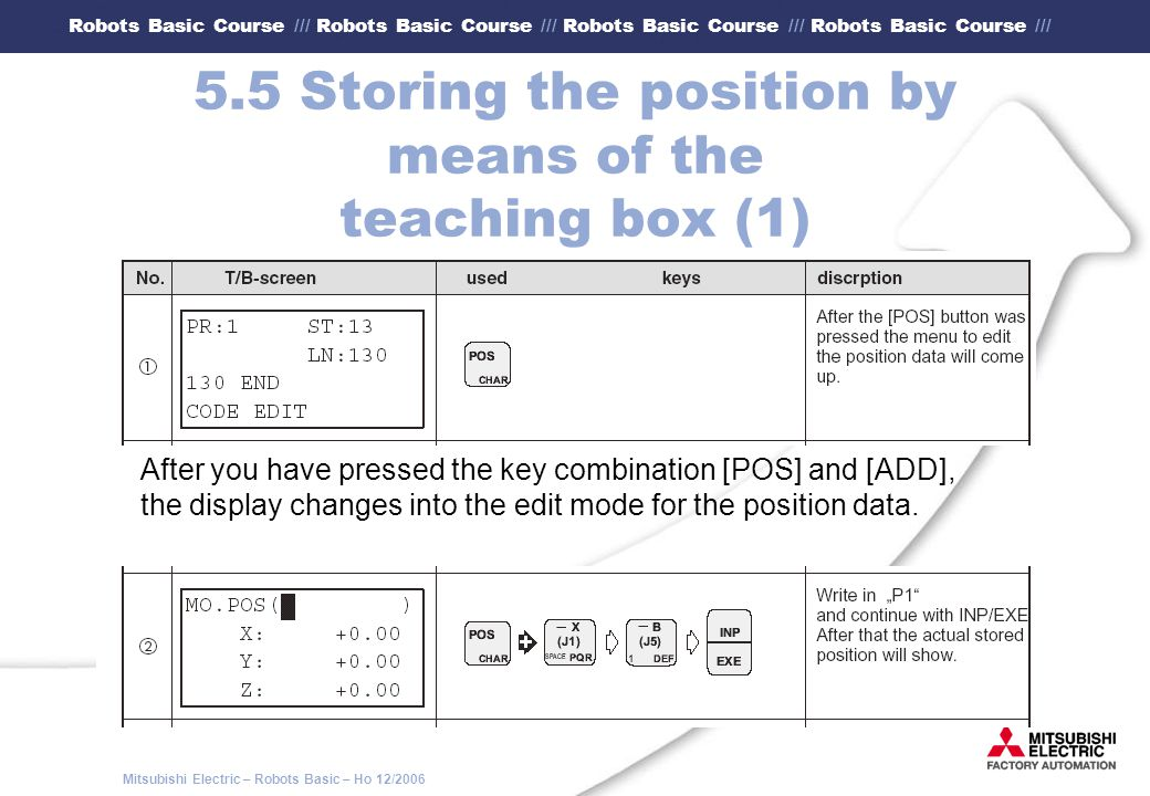 5.5 Storing the position by means of the teaching box (1)