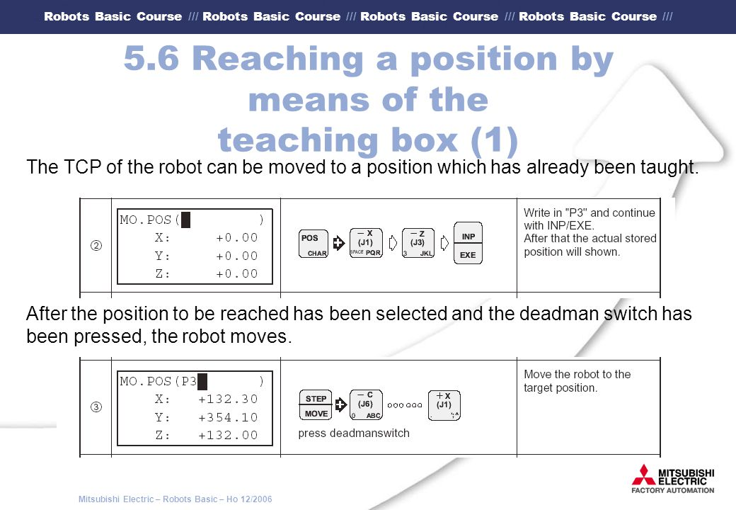5.6 Reaching a position by means of the teaching box (1)