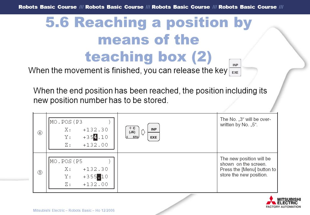 5.6 Reaching a position by means of the teaching box (2)
