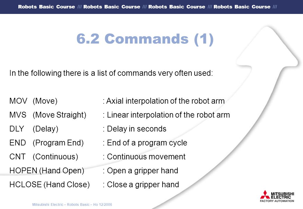 6.2 Commands (1) In the following there is a list of commands very often used: MOV (Move) : Axial interpolation of the robot arm.
