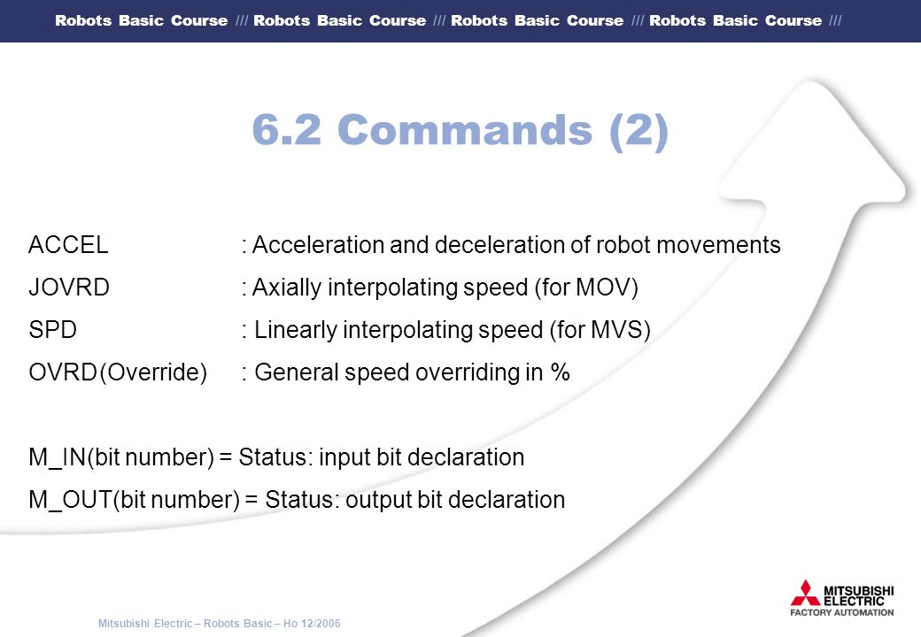 6.2 Commands (2) ACCEL : Acceleration and deceleration of robot movements. JOVRD : Axially interpolating speed (for MOV)