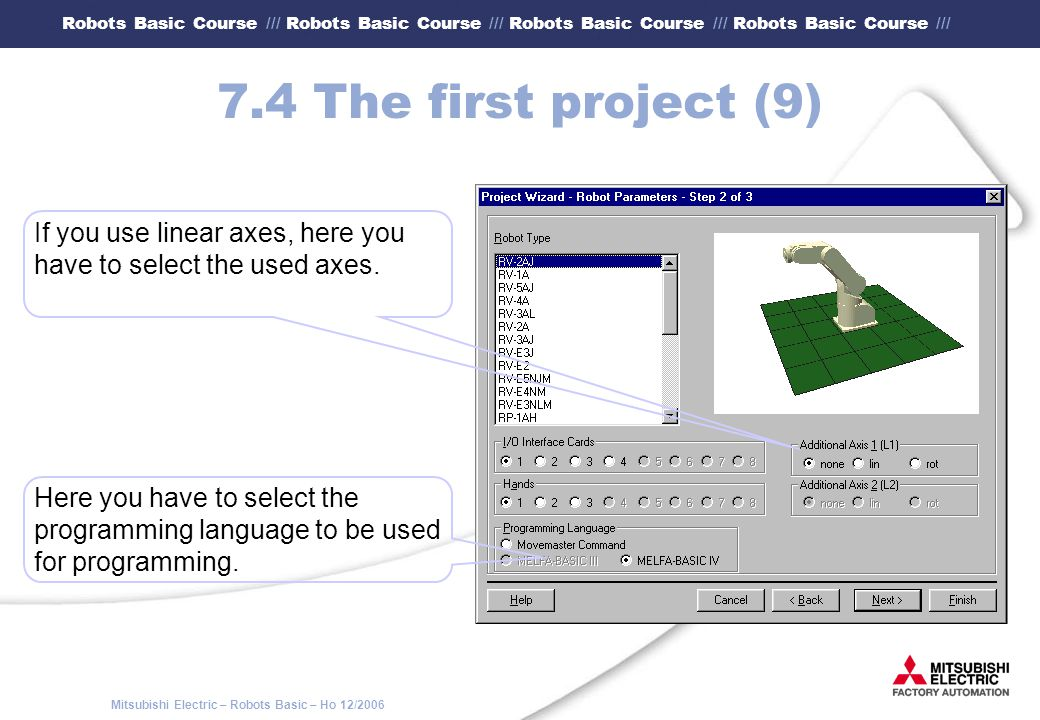 7.4 The first project (9) If you use linear axes, here you