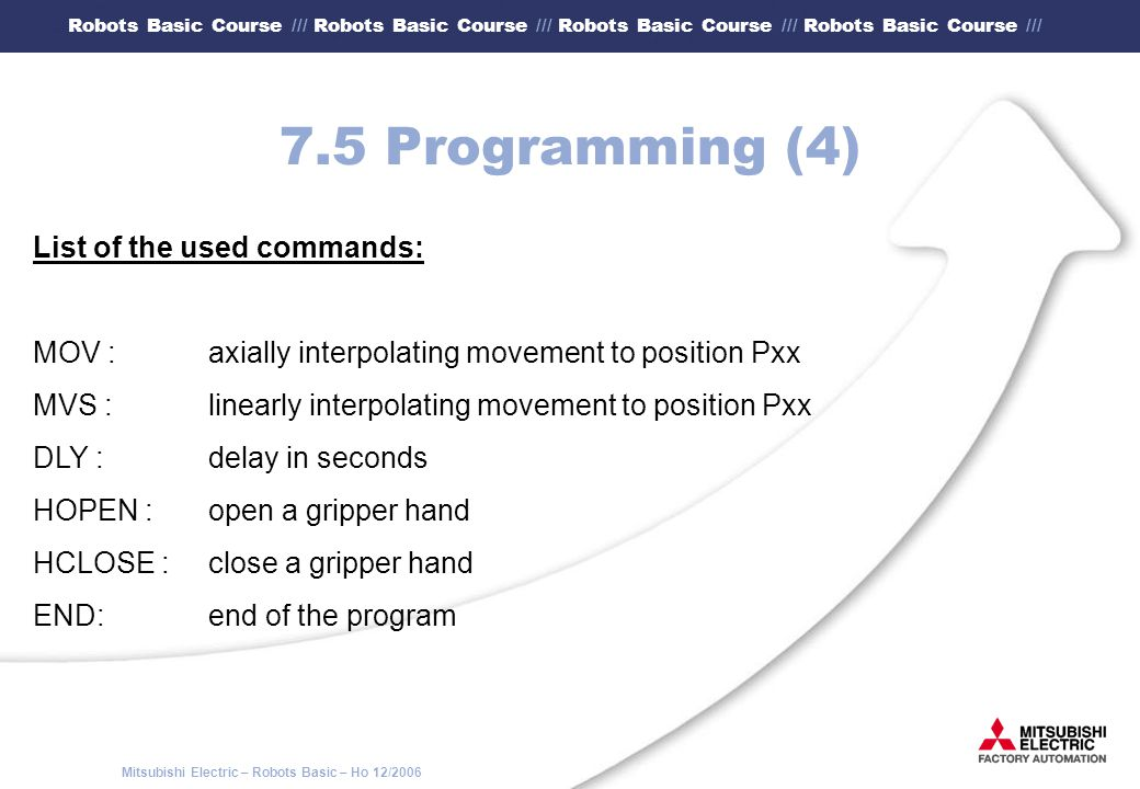 7.5 Programming (4) List of the used commands:
