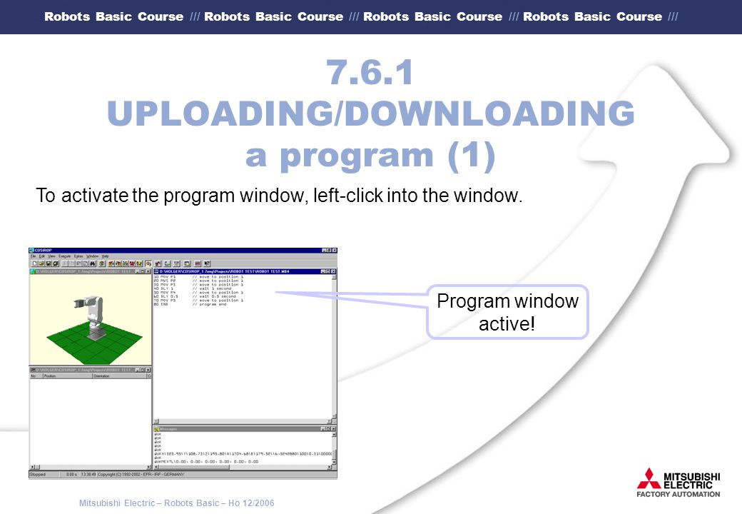 7.6.1 UPLOADING/DOWNLOADING a program (1)