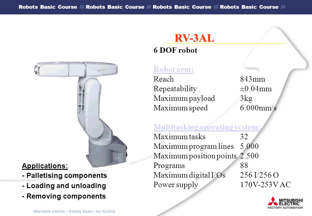 RV-3AL 6 DOF robot Robot arm: Reach 843mm Repeatability ±0.04mm