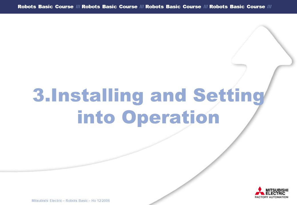 3.Installing and Setting into Operation