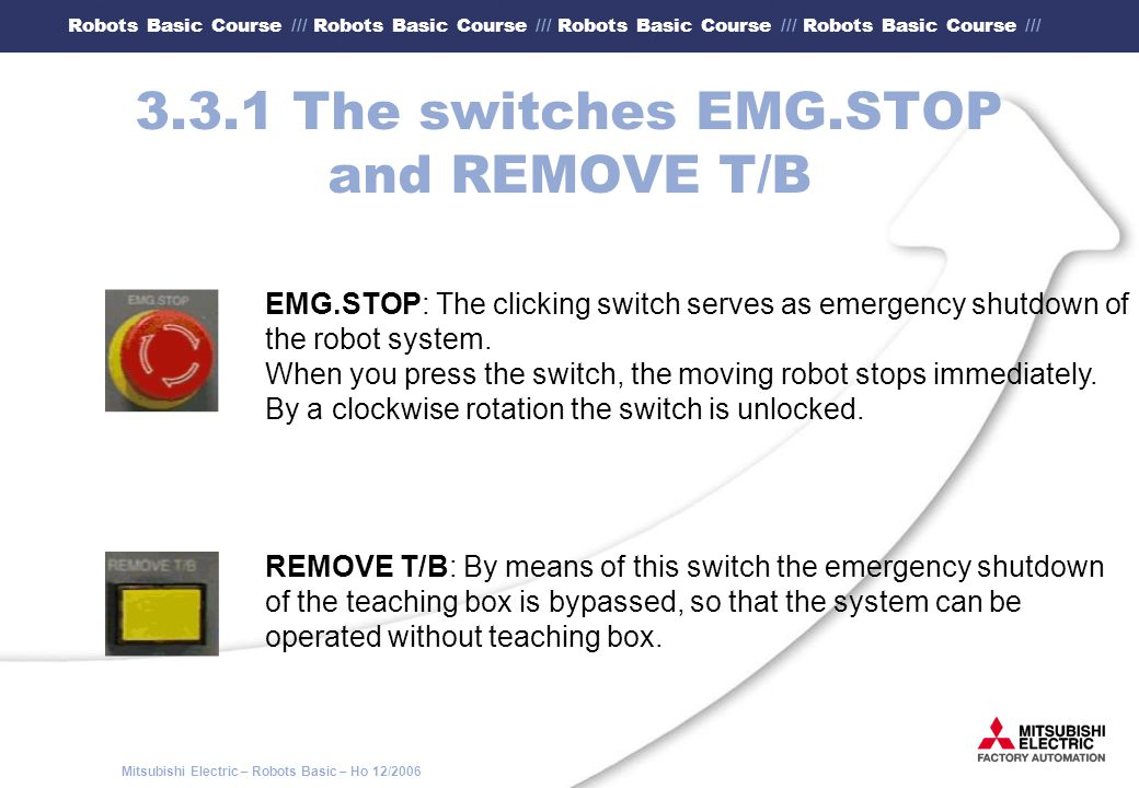 3.3.1 The switches EMG.STOP and REMOVE T/B