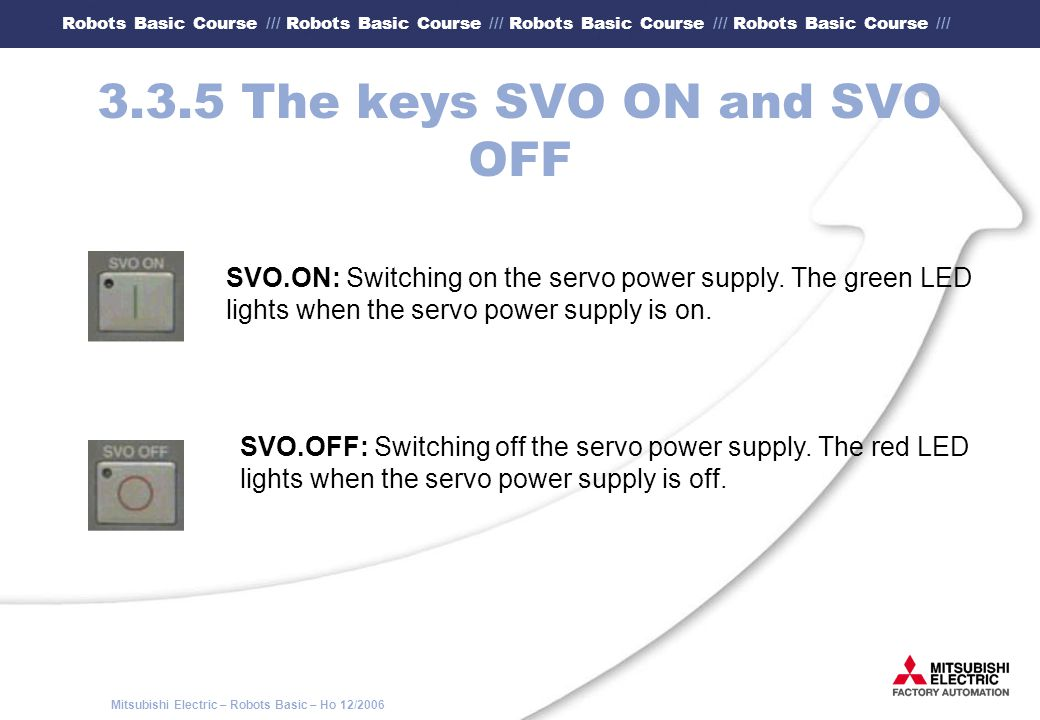 3.3.5 The keys SVO ON and SVO OFF