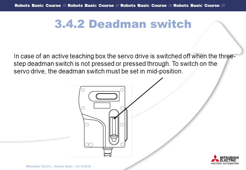 3.4.2 Deadman switch In case of an active teaching box the servo drive is switched off when the three-