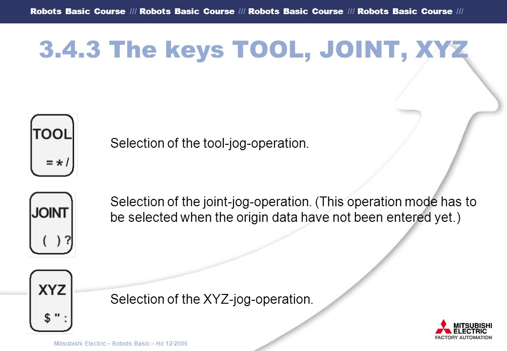 3.4.3 The keys TOOL, JOINT, XYZ Selection of the tool-jog-operation.