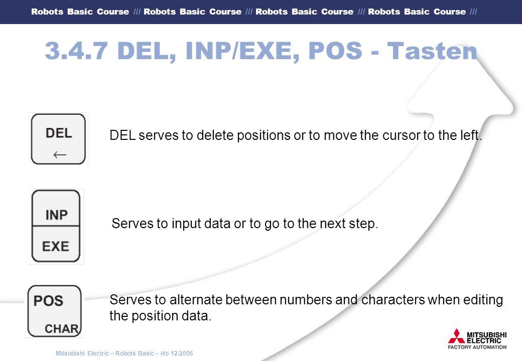 3.4.7 DEL, INP/EXE, POS - Tasten