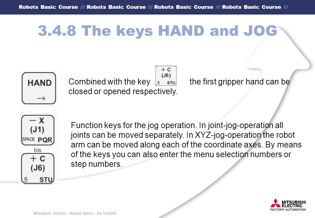 3.4.8 The keys HAND and JOG Combined with the key the first gripper hand can be. closed or opened respectively.
