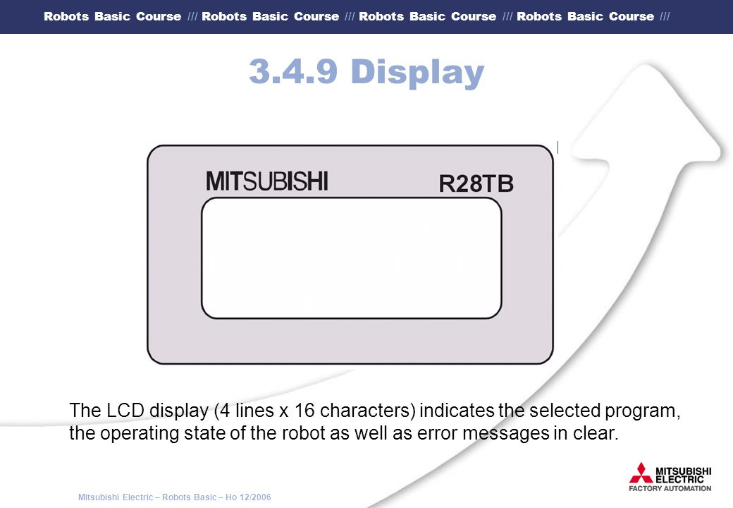 3.4.9 Display The LCD display (4 lines x 16 characters) indicates the selected program,