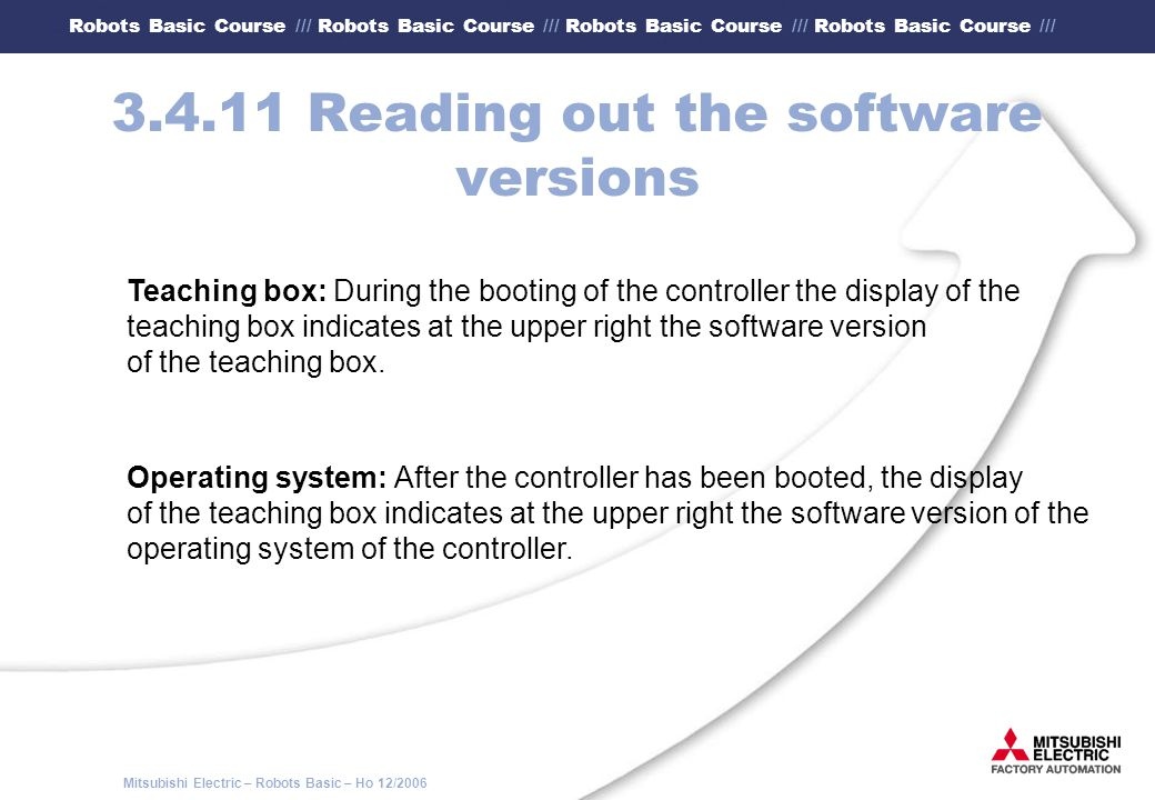 3.4.11 Reading out the software versions