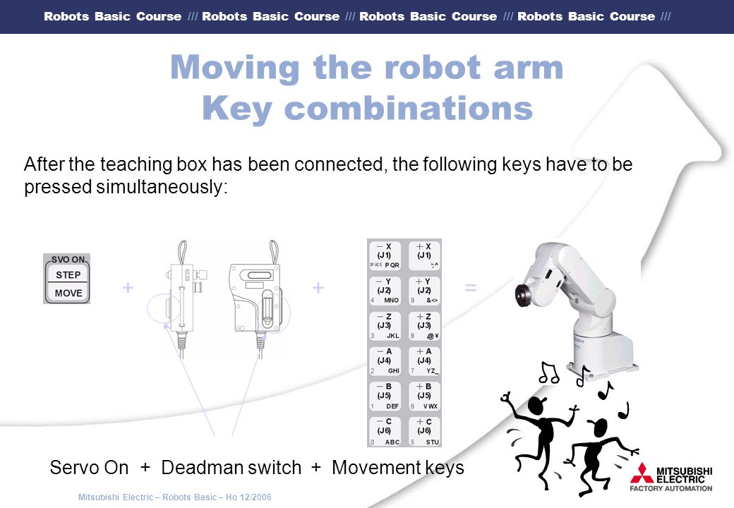 Moving the robot arm Key combinations