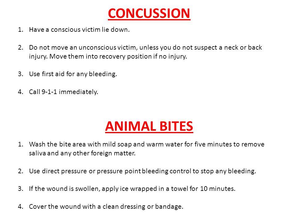CONCUSSION ANIMAL BITES