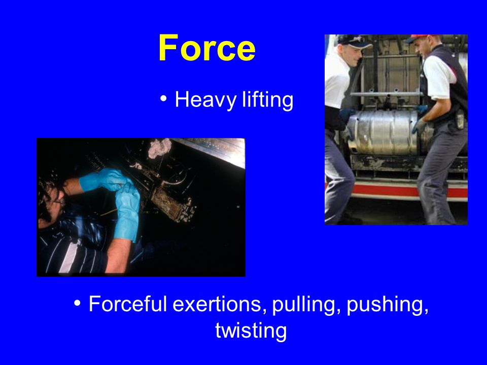 Forceful exertions, pulling, pushing, twisting