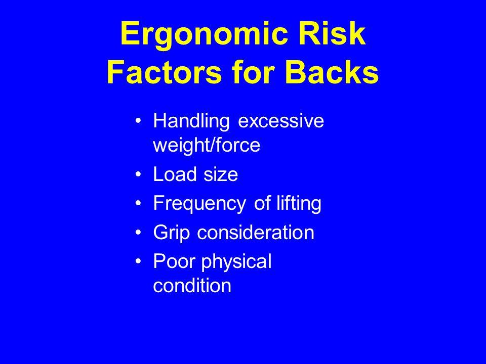 Ergonomic Risk Factors for Backs