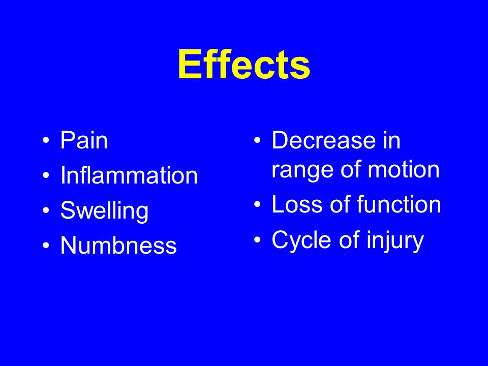 Effects Pain Inflammation Swelling Numbness