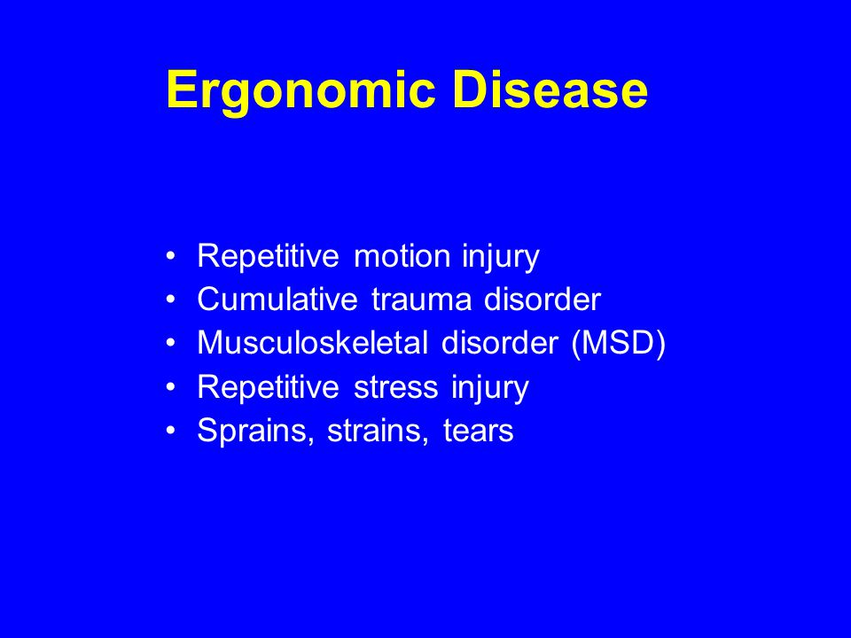 Ergonomic Disease Repetitive motion injury Cumulative trauma disorder