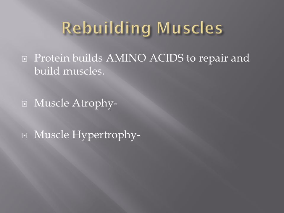 Rebuilding Muscles Protein builds AMINO ACIDS to repair and build muscles.