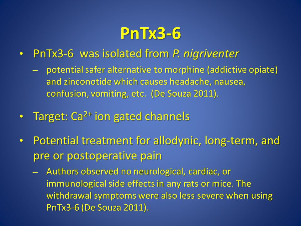 PnTx3-6 PnTx3-6 was isolated from P. nigriventer